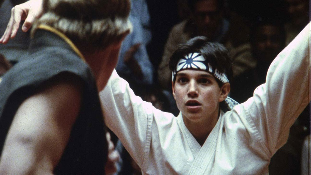 Karate Kid crane kick martial arts fight scene.