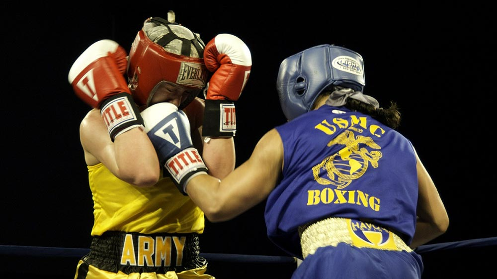 Boxer throwing a lead hand jab in boxing.